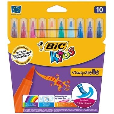 Bic Visaquarelle 10 Renk Fırça Uçlu Keçeli Boya Renkli